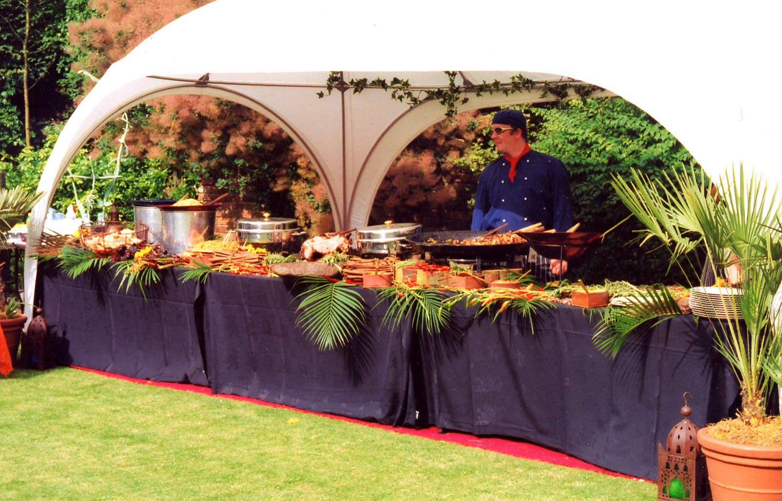 Street food catering at a party in a marquee