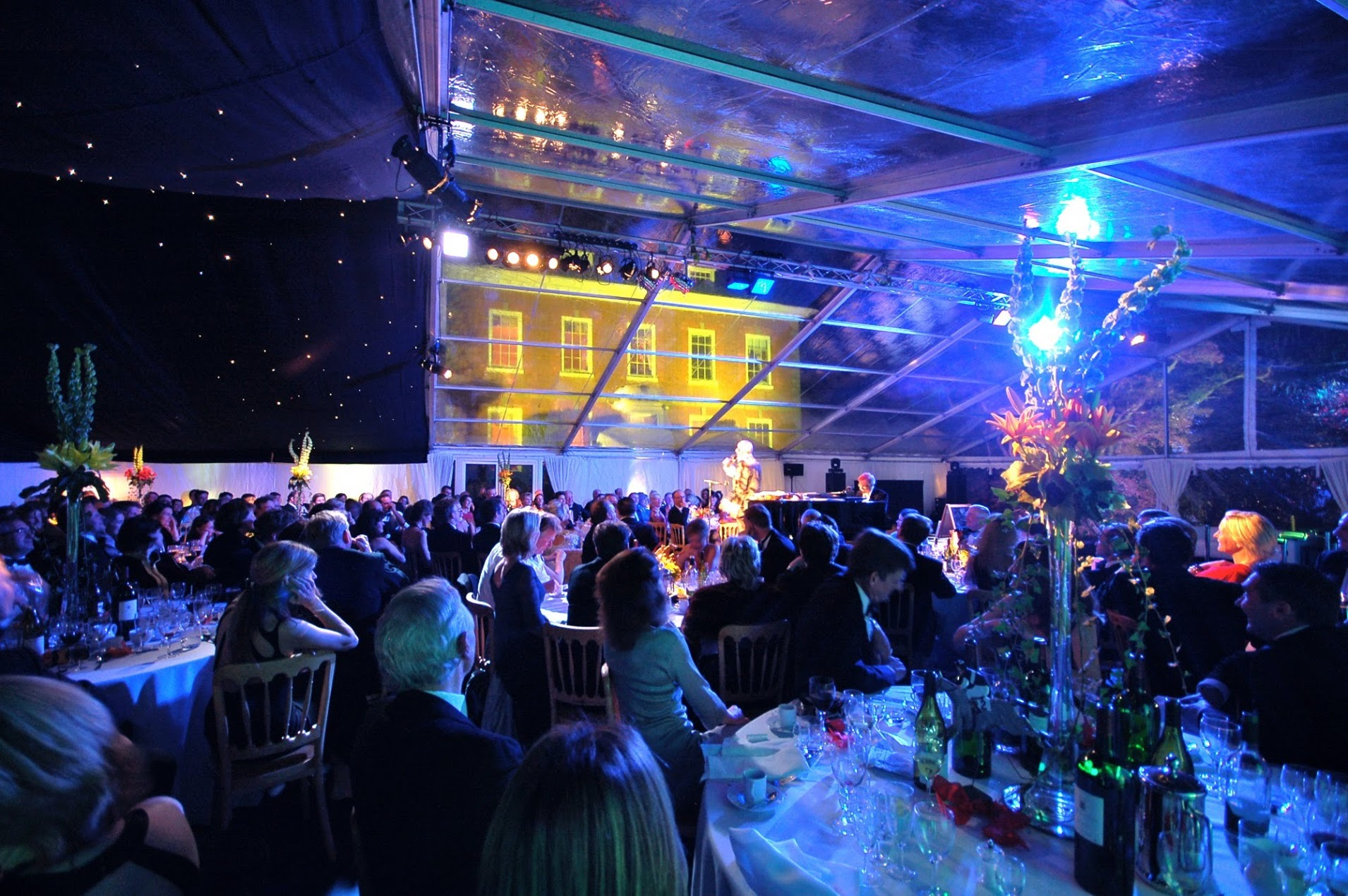Dinner party in a clear marquee