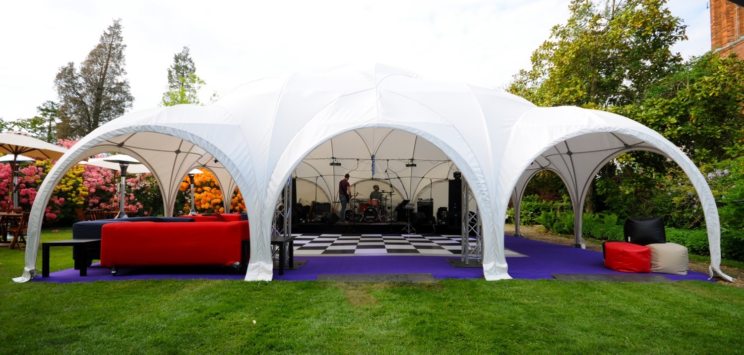 Dome marquee with dancefloor at a summer party
