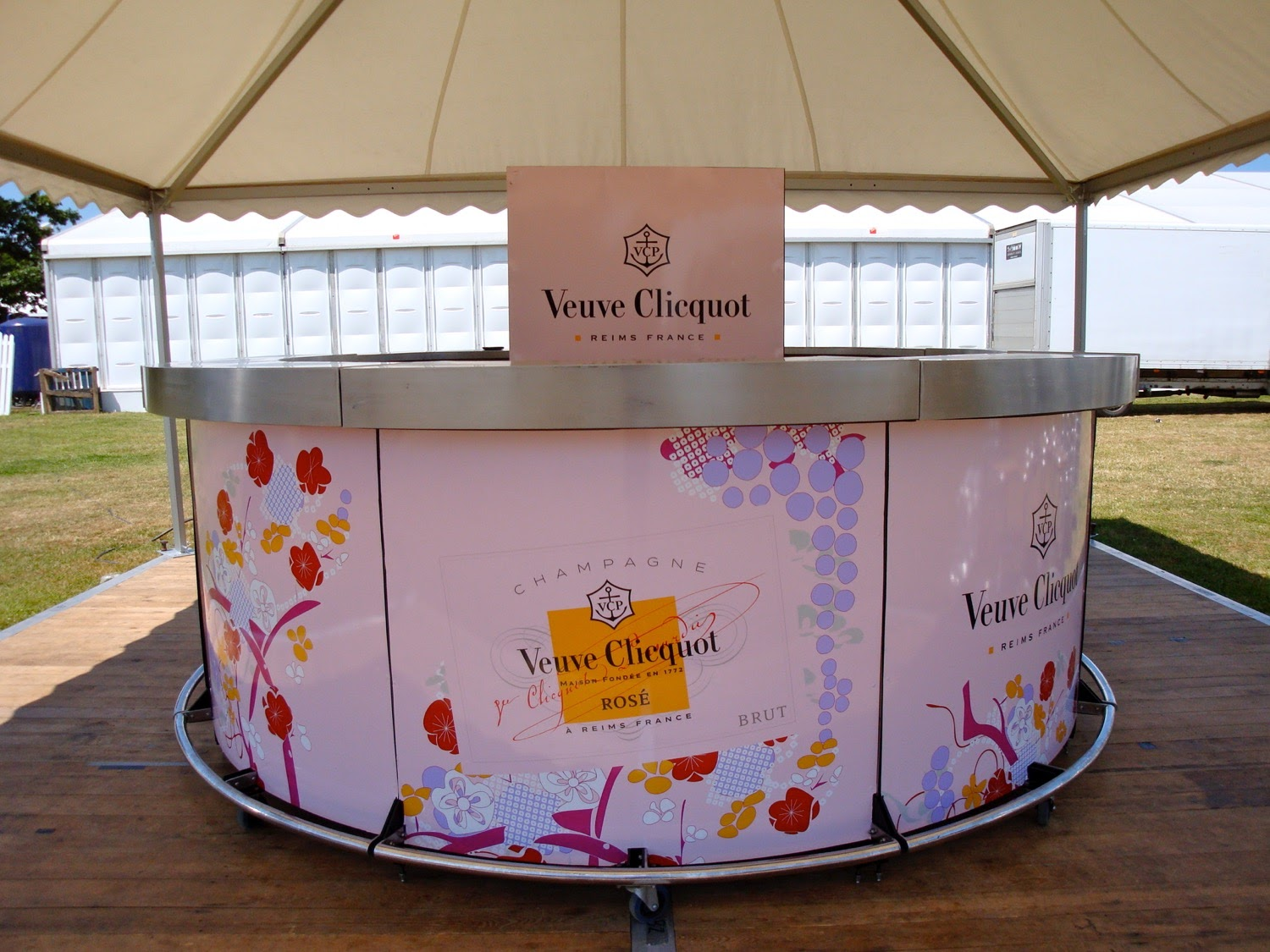 Veuve Clicquot branded round champagne bar