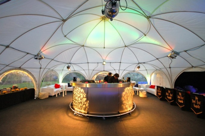 Round bar inside a dome marquee