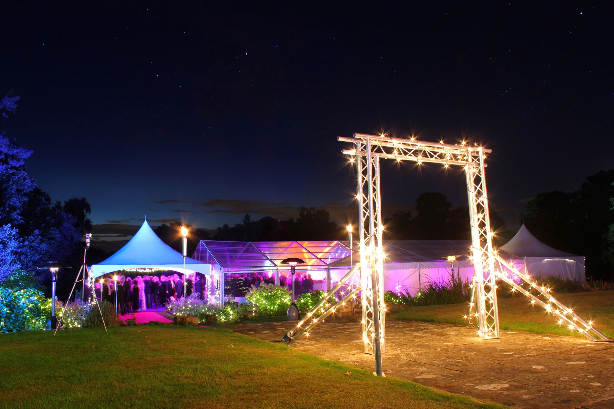 Summer party with lighting truss entrance