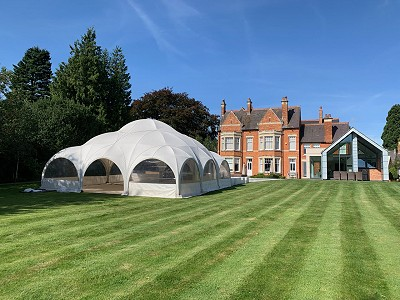 Dome marquee in garden