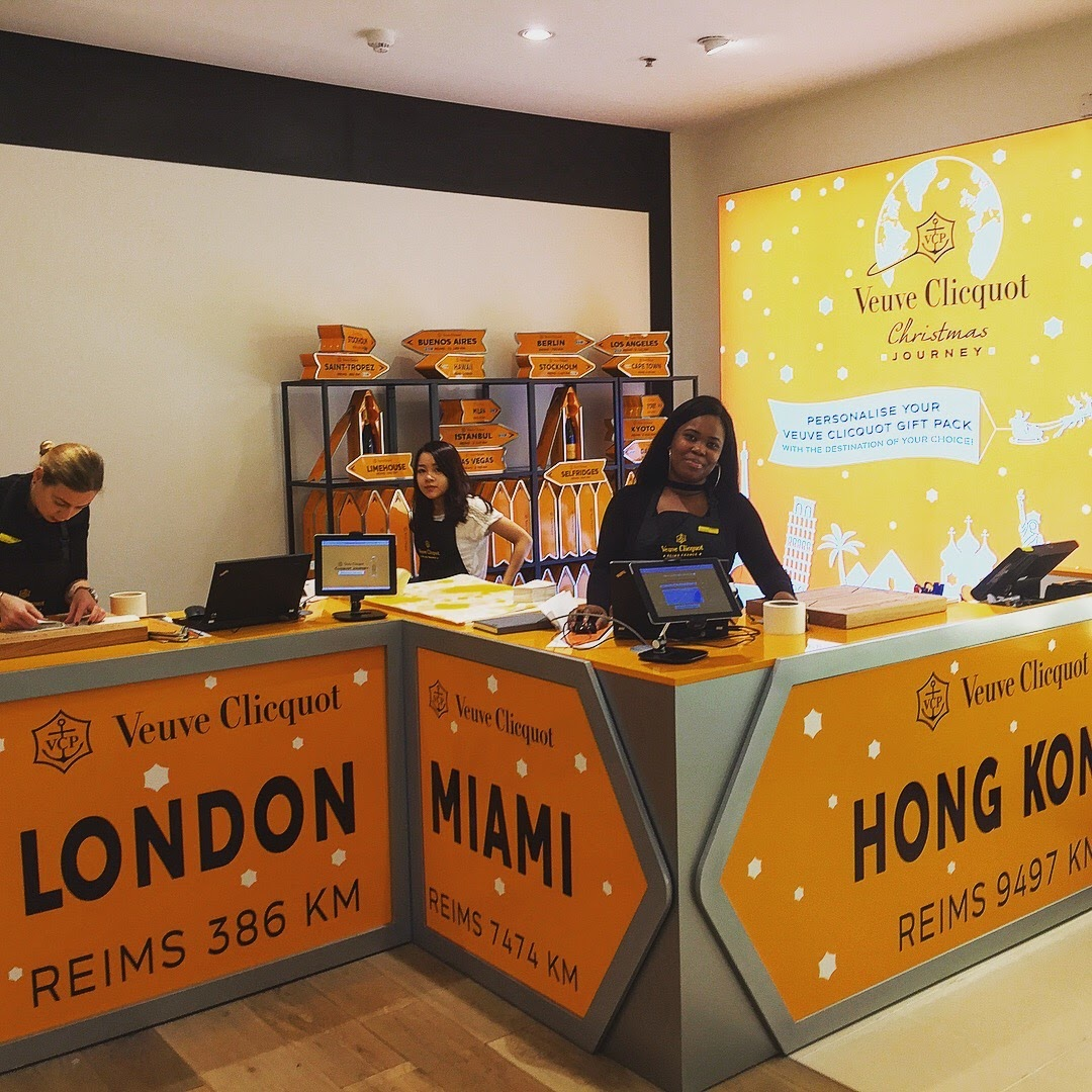 Veuve Clicquot pop up shop in Selfridges store