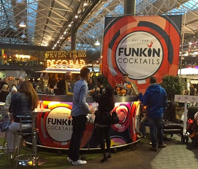 Round bar with Funkin Cocktails branding